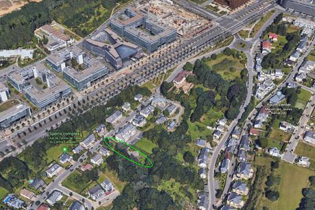 Le projet au Kirchberg bénéficie d'une bonne localisation dans la rue des Muguets. (Photo: Capture d'écran/Google Earth)