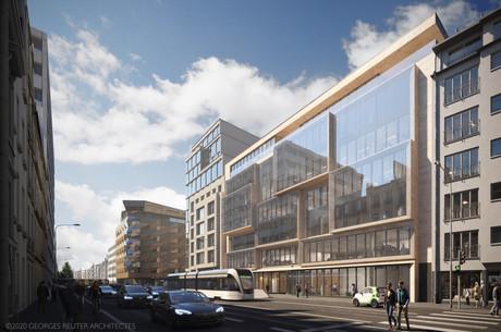 L'immeuble Arsenal présente des volumes en avant-corps qui animent la façade. (Illustration: Georges Reuter Architectes)
