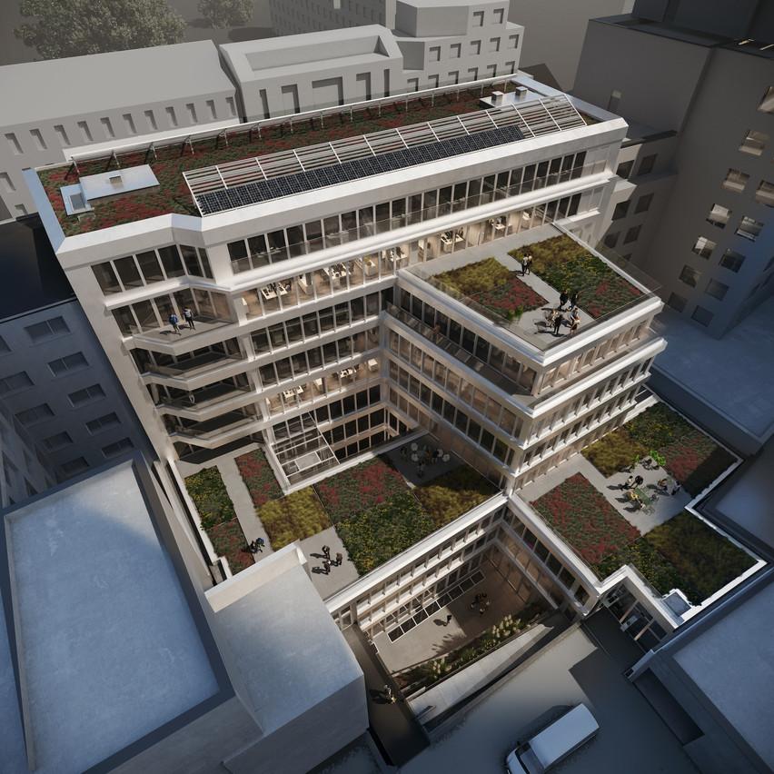 Les toitures plates des volumes construits accueillent des terrasses paysagères. (Illustration: Georges Reuter Architectes)