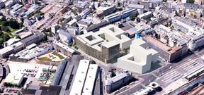 L'immeuble administratif est la première construction à sortir de terre dans ce nouvel ensemble. ((Illustration:Architecture et Environnement, BLK2-Böge Lindner K2 Architekten, Scheuvens + Wachten, Breimann & Bruun GmbH & Co.KG Landschaftsarchitekten))