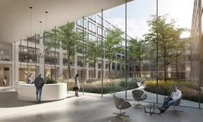Au cœur des nouvelles constructions, un patio apporte à la fois de la lumière naturelle et un espace verdurisé. ((Illustration:Architecture et Environnement, BLK2-Böge Lindner K2 Architekten, Scheuvens + Wachten, Breimann & Bruun GmbH & Co.KG Landschaftsarchitekten))