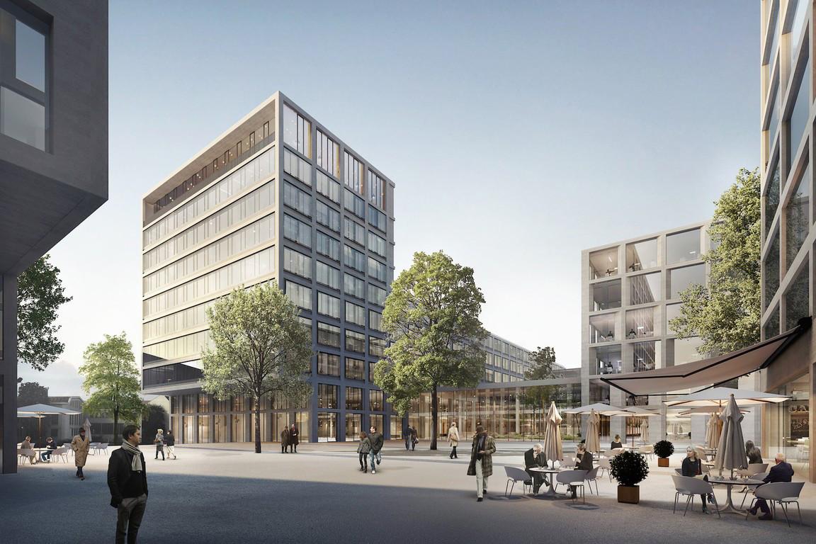 Actuellement, l'immeuble administratif, à gauche sur cette illustration, est en cours de construction. (Illustration:Architecture et Environnement, BLK2-Böge Lindner K2 Architekten, Scheuvens + Wachten, Breimann & Bruun GmbH & Co.KG Landschaftsarchitekten)