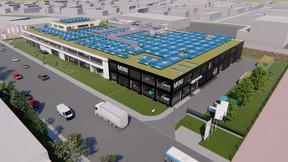 Le nouveau bâtiment comprendra un espace réservé à Mini. ((Illustration: Archipel41))