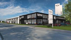 Contrastant avec l'espace BMW, celui de Mini a une façade noire. ((Illustration: Archipel41))