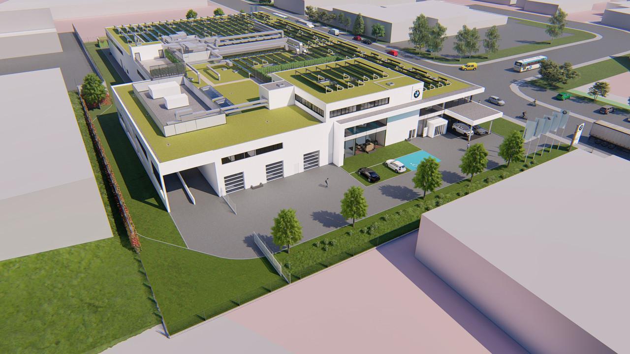 Sur le toit, de nombreux panneaux photovoltaïques produiront de l'électricité utilisée dans le bâtiment. (Illustration: Archipel41)