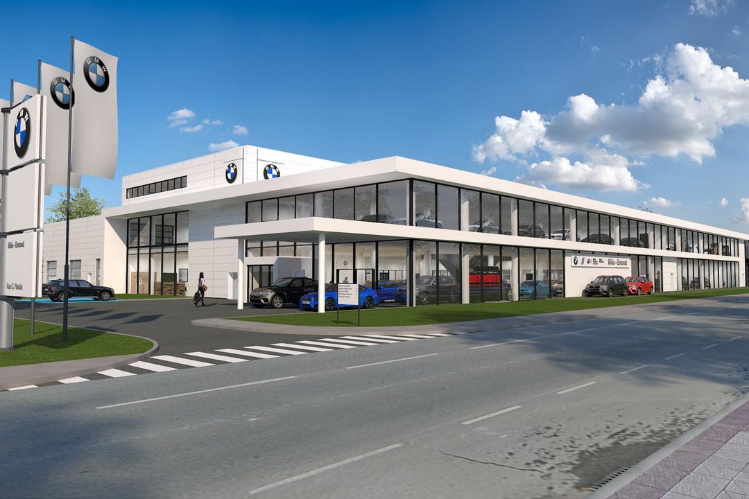 La nouvelle concession BMW est en construction à la Cloche d'Or, à Luxembourg. (Illustration: Archipel41)