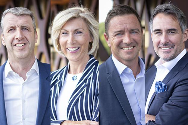 Jean-Pascal Nepper,Chrystelle Veeckmans,Thierry Ravasio etChristophe Diricks sont les nouveaux head of sectors choisis par le nouveau managing partner David Capocci. (Photo: KPMG)