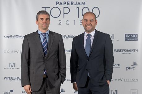 Le moment est important pour Jonathan Prince et Raoul Mulheims (Finologee) qui vont pouvoir proposer les produits de Luxtrust directement depuis leur plate-forme bancaire. (Photo: Nader Ghavami/Archives Paperjam)