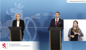 Paulette Lenert et Xavier Bettel défendent la stratégie de dépistage à grande échelle malgré les retombées fâcheuses au niveau de la comparaison des chiffres au niveau européen. (Capture d'écran : gouvernement.lu)