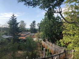 La vue depuis la terrasse donne sur le parc animalier. On devine au loin les daims et les sangliers. ((Photo: Paperjam.lu))