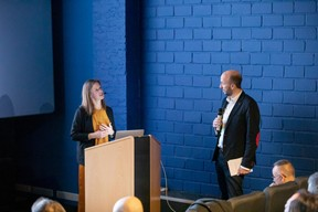 Nora Vanderschrick (DPG Media Advertising) et Mathieu Mathelin (Maison Moderne) ((Photo: Jan Hanrion))