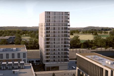 La tour Omnia présente un léger décalage dans le profil de sa façade. (Illustration: Moreno Architecture & Associés)
