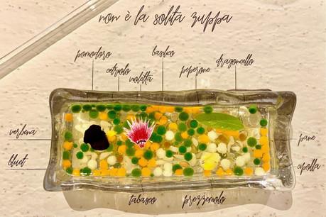 «Non è la solita zuppa», une entrée des plus surprenantes qui traduit bien la qualité à laquelle on peut s'attendre actuellement chez le chef Roberto Fani… (Photo:Maison Moderne)