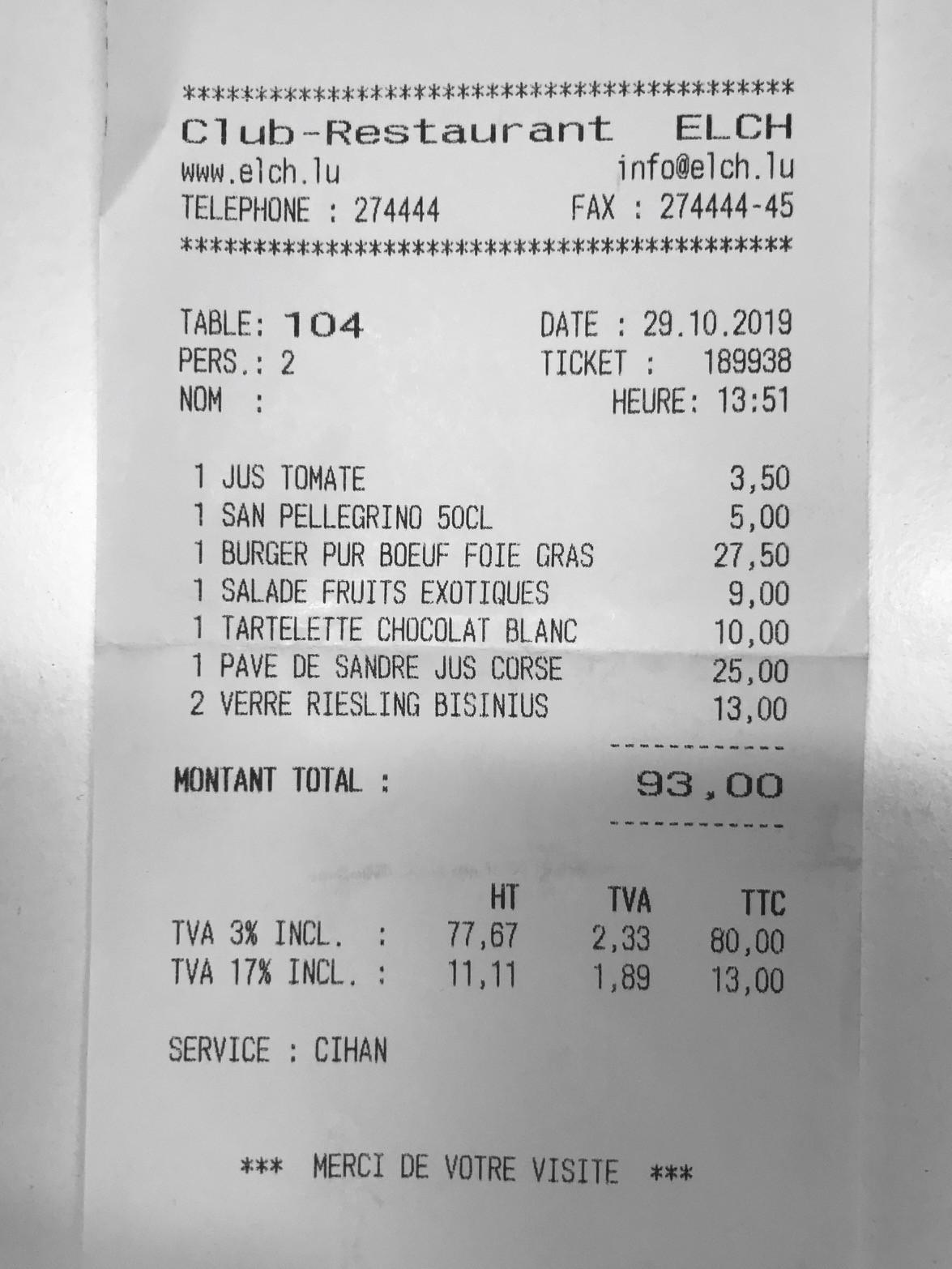 Des prix qui n'ont pas explosé et du vin local à moins de 7€, l'addition du Elch s'avère assez peu salée! (Photo: Maison Moderne)