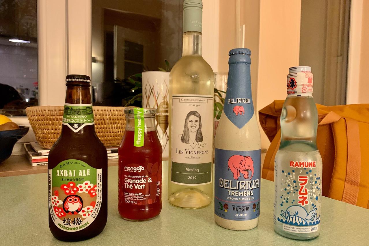 Limonades japonaises, bières spéciales asiatiques et belges, vin luxembourgeois, spiritueux: Dionyz propose de nombreuses options pour accompagner une soirée gourmande «at home»! (Photo: Maison Moderne)