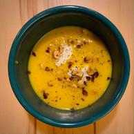 Le potage du moment: potimarron/truffe/crème fraîche/noisettes torréfiées, de chez Olivia Cliquet, à Belair. (Maison Moderne)