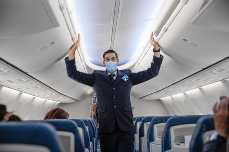 Masque obligatoire, respect des distances dans l'aéroport… Le parcours du client a été adapté aux nouvelles conditions sanitaires. (Photo: Romain Gamba/Maison Moderne)