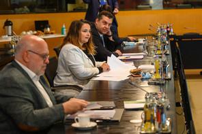 Nora Back (ici durant la tripartite du 7 juillet) rappelle les engagements du gouvernement et réclame des discussions avancées sur la législation des plans sociaux et de maintien dans l'emploi. (Photo: SIP / Jean-Christophe Verhaegen)