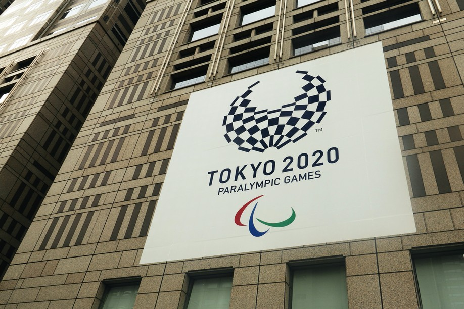 A panel on the Tokyo Metropolitan Government Office promotes the Tokyo 2020 Paralympic Games starting on 24 August Photo: Shutterstock