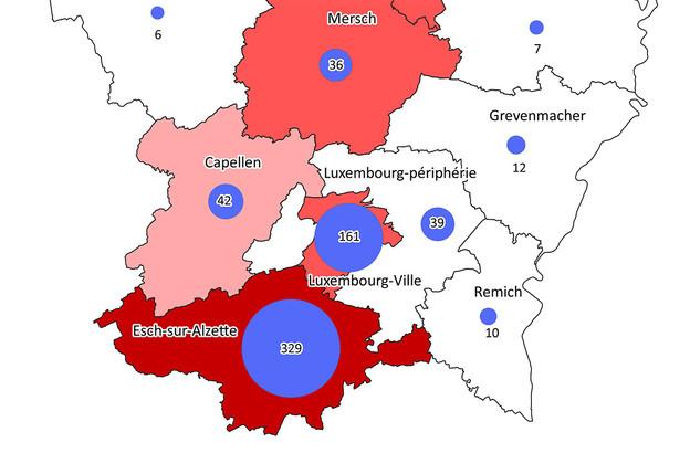 Une première cartographie du Covid-19 au Luxembourg qui se décline selon les cantons les plus densément peuplés. (Illustration: Gouvernement.lu)