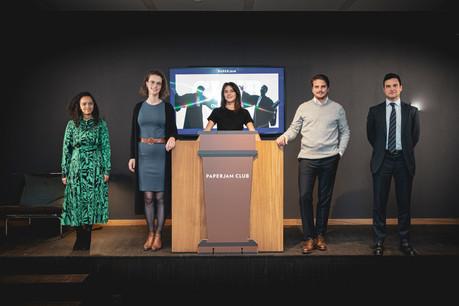 Alessandra Medina (DSM), Marie Lahaye (Étude Wurth Kinsch Olinger), Julie Lhardit (Maison Moderne), Harrison Dans (Clifford Chance) et Davoud Hatami (Lexfield). (Photo: Jan Hanrion / Maison Moderne)