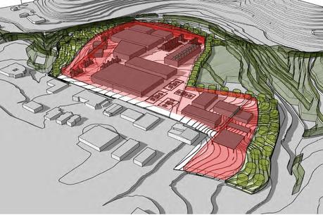 Cette vue en 3D montre les gabarits maxima des bâtiments à l'intérieur du périmètre du PAP. (Visuel: WW+)