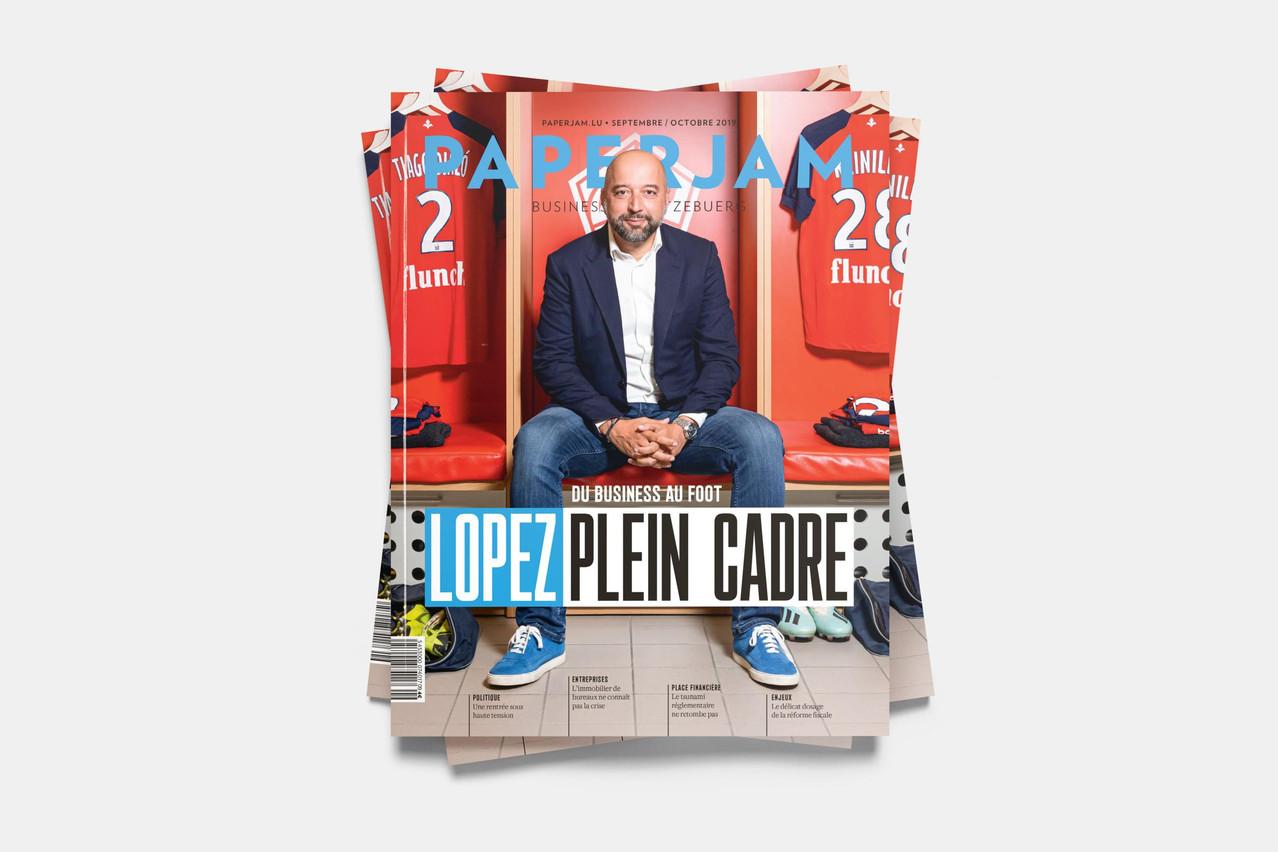 En couverture de ce numéro de rentrée de Paperjam, l'homme d'affaires Gerard Lopez. (Photo: Patricia Pitsch / Maison Moderne)