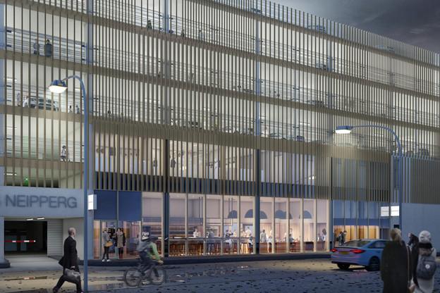 La façade a été entièrement repensée, et modernisée avec des lamelles d'aluminium. (Visuel:WW+ architektur + management Sàrl)