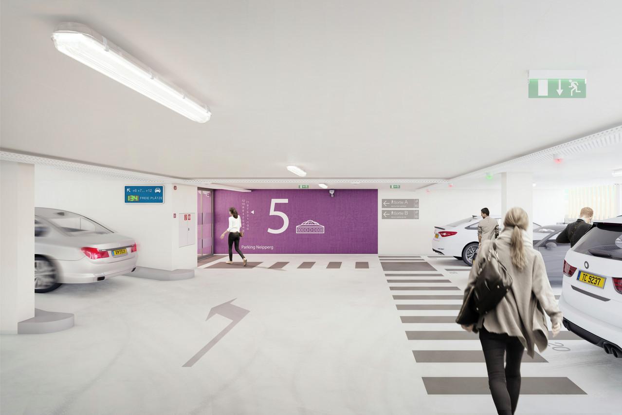 L'intérieur du parking a été adapté en tenant compte de la nouvelle charte graphique voulue par la Ville. (Visuel: WW+ architektur + management Sàrl)