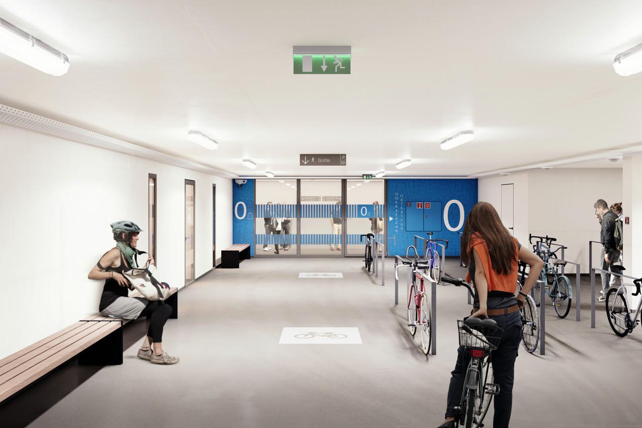 Un espace dédié aux cyclistes a été spécialement intégré au projet. (Visuel: WW+ architektur + management Sàrl)