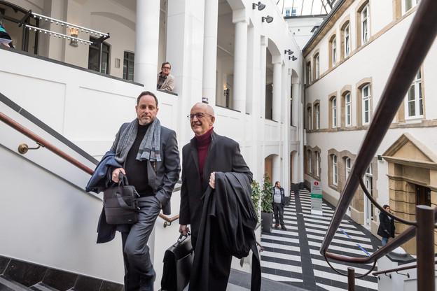 AndréKemmer (à gauche) et ses deux co-inculpés avaient été acquittés le 25 juin dernier dans l'affaire du Srel. (Photo: Nader Ghavami/Archives Paperjam)