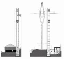Élévation de la tour d'ascenseur et du pylône. ((Illustration: STDM-Ney & Partners))