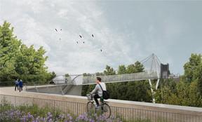 L'entrée sur la passerelle se fera par un chemin créé pour l'ouvrage d'art. ((Illustration: STDM-Ney & Partners))