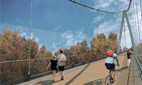 Depuis la passerelle, on pourra profiter d'une vue vers la ville et sur la vallée. ((Illustration: STDM-Ney & Partners))
