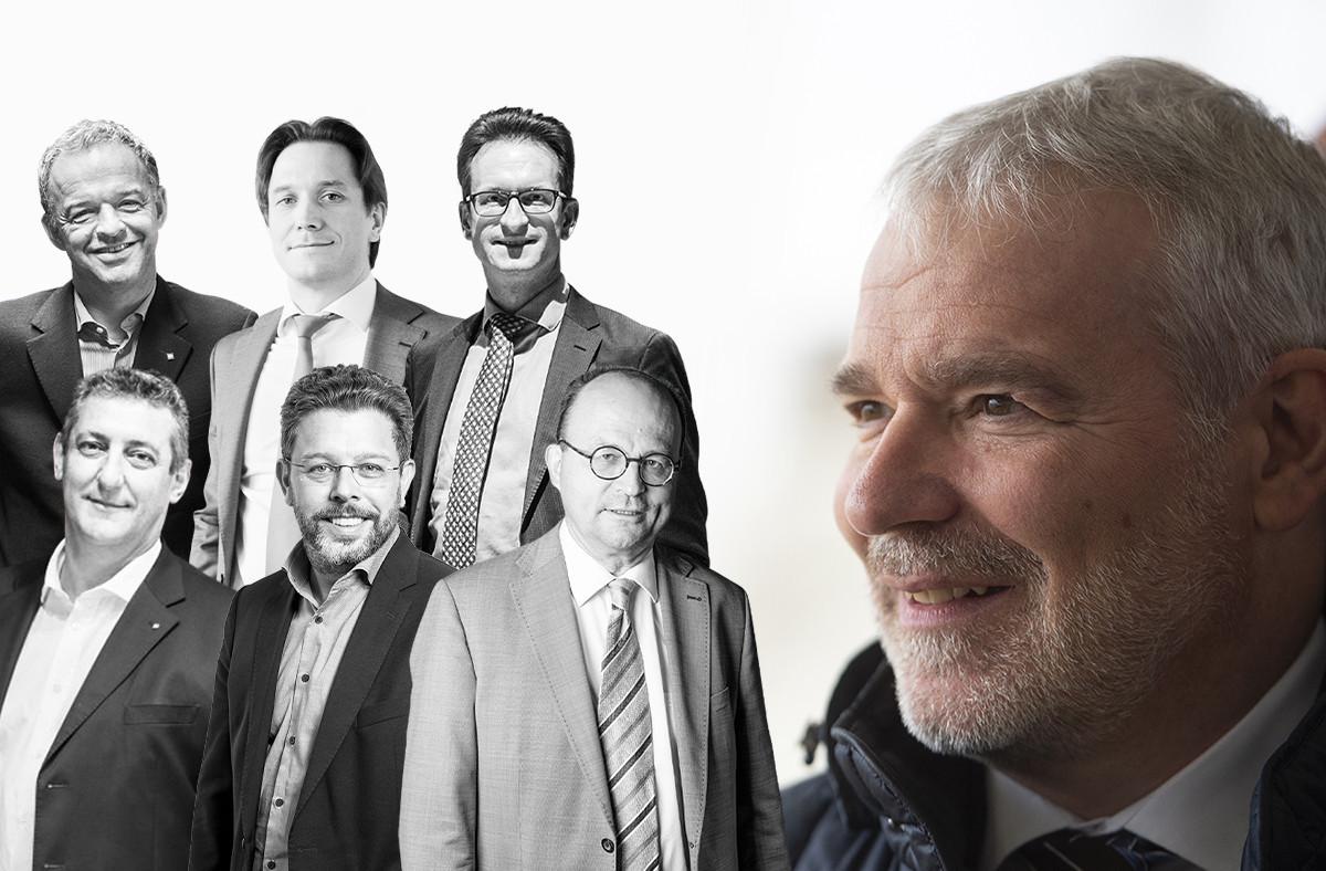 Michel Reckinger,Jean-Paul Olinger, Carlo Thelen, Romain Schmit, Nicolas Henckes et Tom Wirion réagissent aux propos de Dan Kersch. (Photomontage: Maison Moderne)