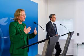 (De g. à dr.)  Paulette Lenert, ministre de la Santé ; Claude Meisch, ministre de l'Enseignement supérieur et de la Recherche © SIP / Jean-Christophe Verhaegen, tous droits réservés