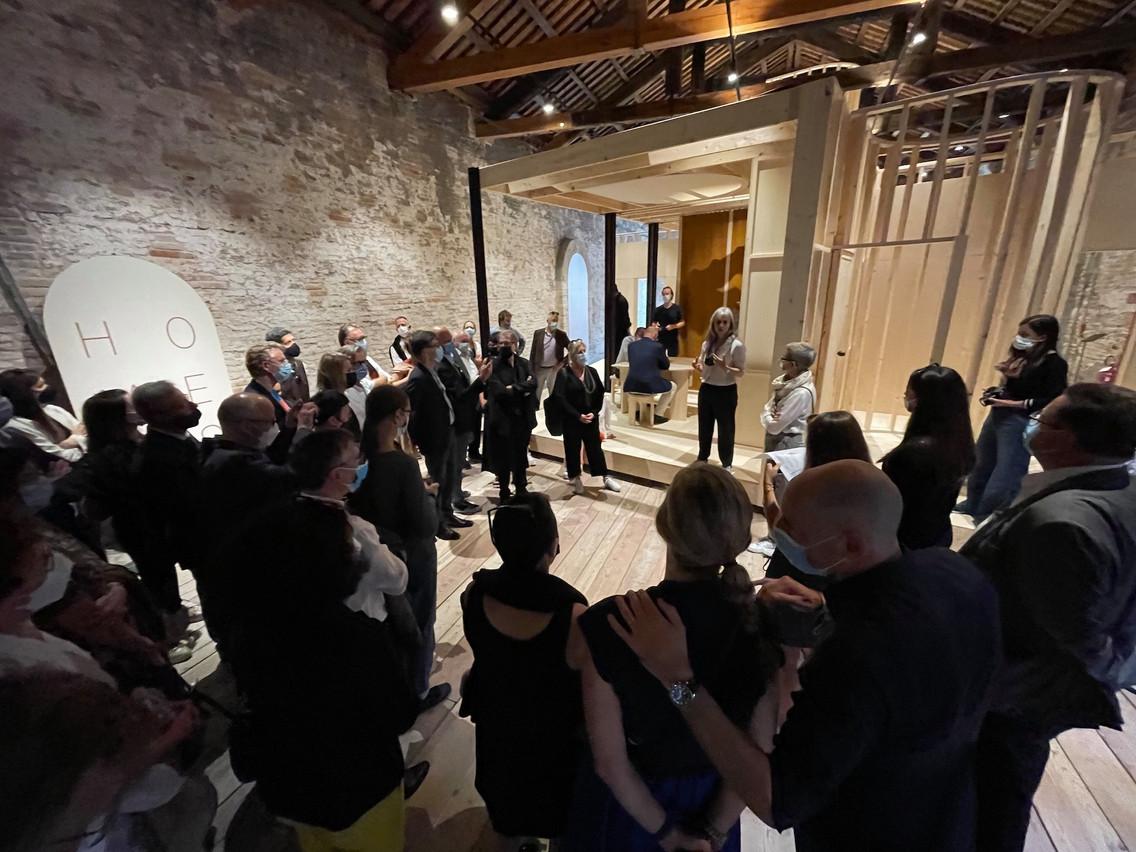 Vue du vernissage de l'exposition «Homes for Luxembourg» à la Biennale de Venise 2021. (Photo: Paperjam.lu)