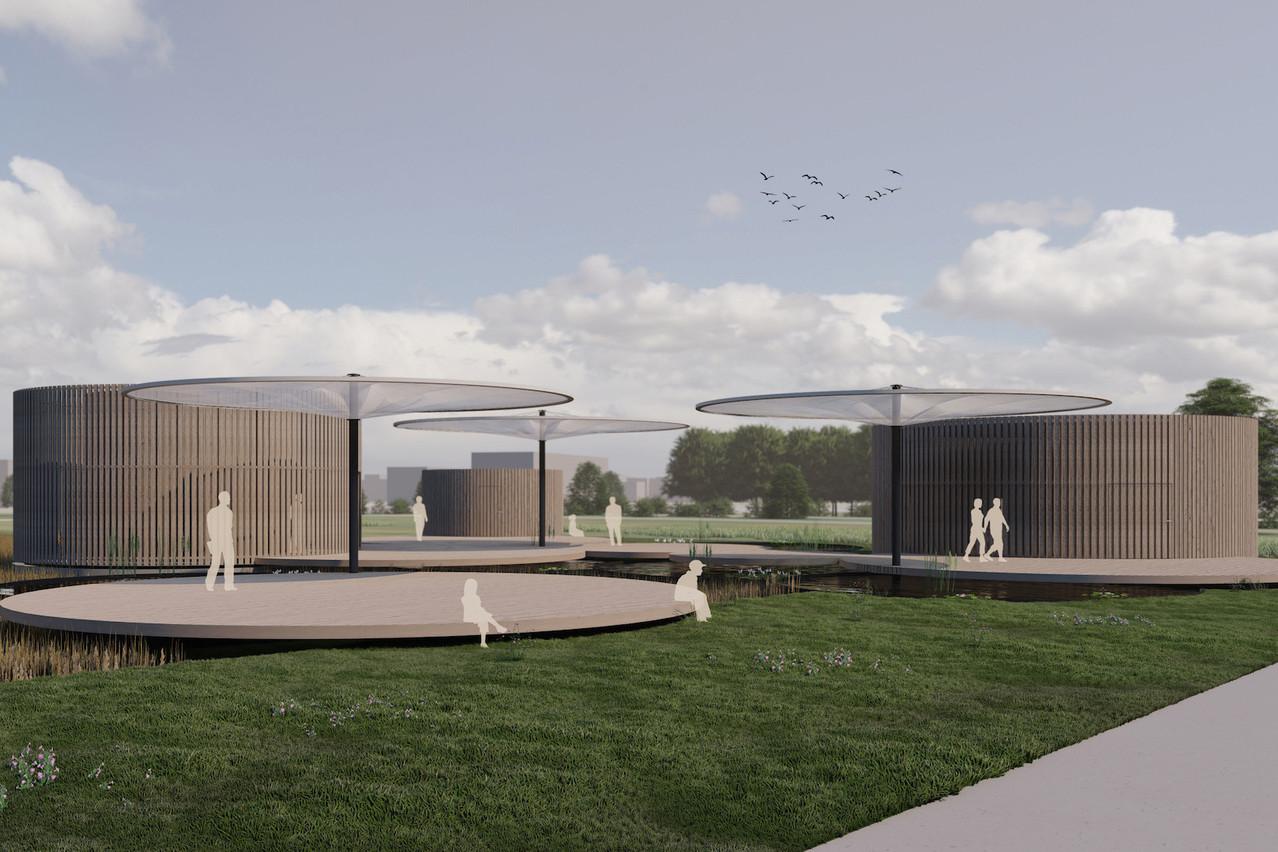 C'est le projet conçu parBeBunch, Ney & Partners et Laura Mannelli qui a remporté la consultation pour le Pavillon Source Bel-Val. (Illustration :BeBunch-Ney & Partners-Laura Mannelli)