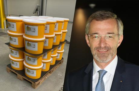 4.000 litres de RobinLoop ont été produits pour ce projet pilote. Qui devrait se concrétiser, annonce GérardZoller. (Photo: Peintures Robin)