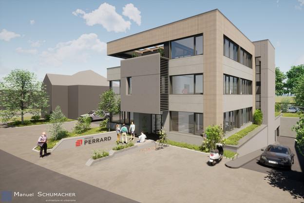 Le nouveau siège de Perrard permet de regrouper toutes les équipes sur un même site. (Illustration: Manuel Schumacher Architecture et Urbanisme)