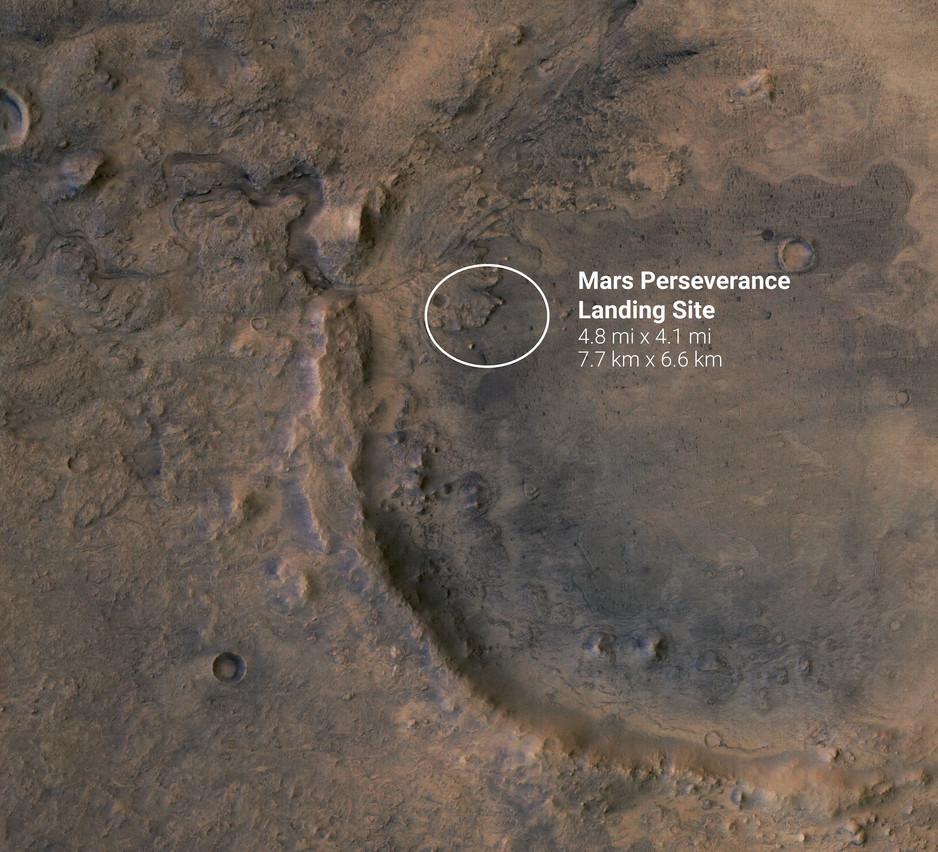 Le cratère où doit se poser le rover. (Source: Nasa)