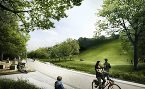 De vastes surfaces engazonnées seront maintenues. ((Illustration: Ville de Luxembourg, Förder Landschaftsarchitekten, TR-Engineering))