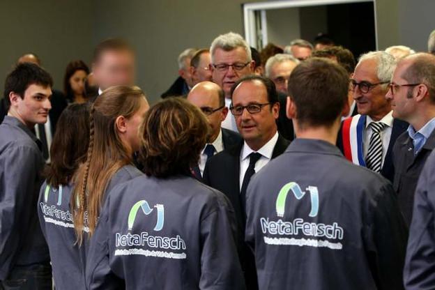 François Hollande, le 17 octobre 2016, lors de sa visite sur le site de Florange. (Photo: Présidence de la République)