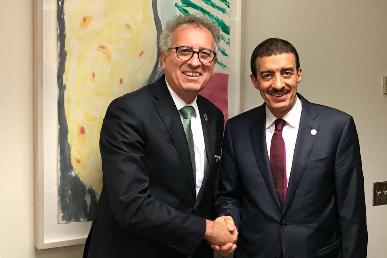 Pierre Gramegna a rencontré Bandar  M. H.  Hajjar, président de la Banque islamique de développement . (Photo: SIP)
