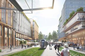 Le tramway entouré par de nouveaux bâtiments, proposant commerces, logements et bureaux. ((Photo: DR))