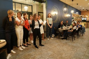 Isabelle Faber, chair of Women in Business, is seen speaking during the first edition of the WIB Tennis Challenge, 9 September 2021. Photo credit: WIB/A. Dehez