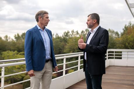 Kobe Verdonck (à gauche) a rendu visite à ses équipes luxembourgeoises, mercredi 2 septembre. (Photo: Matic Zorman / Maison Moderne)