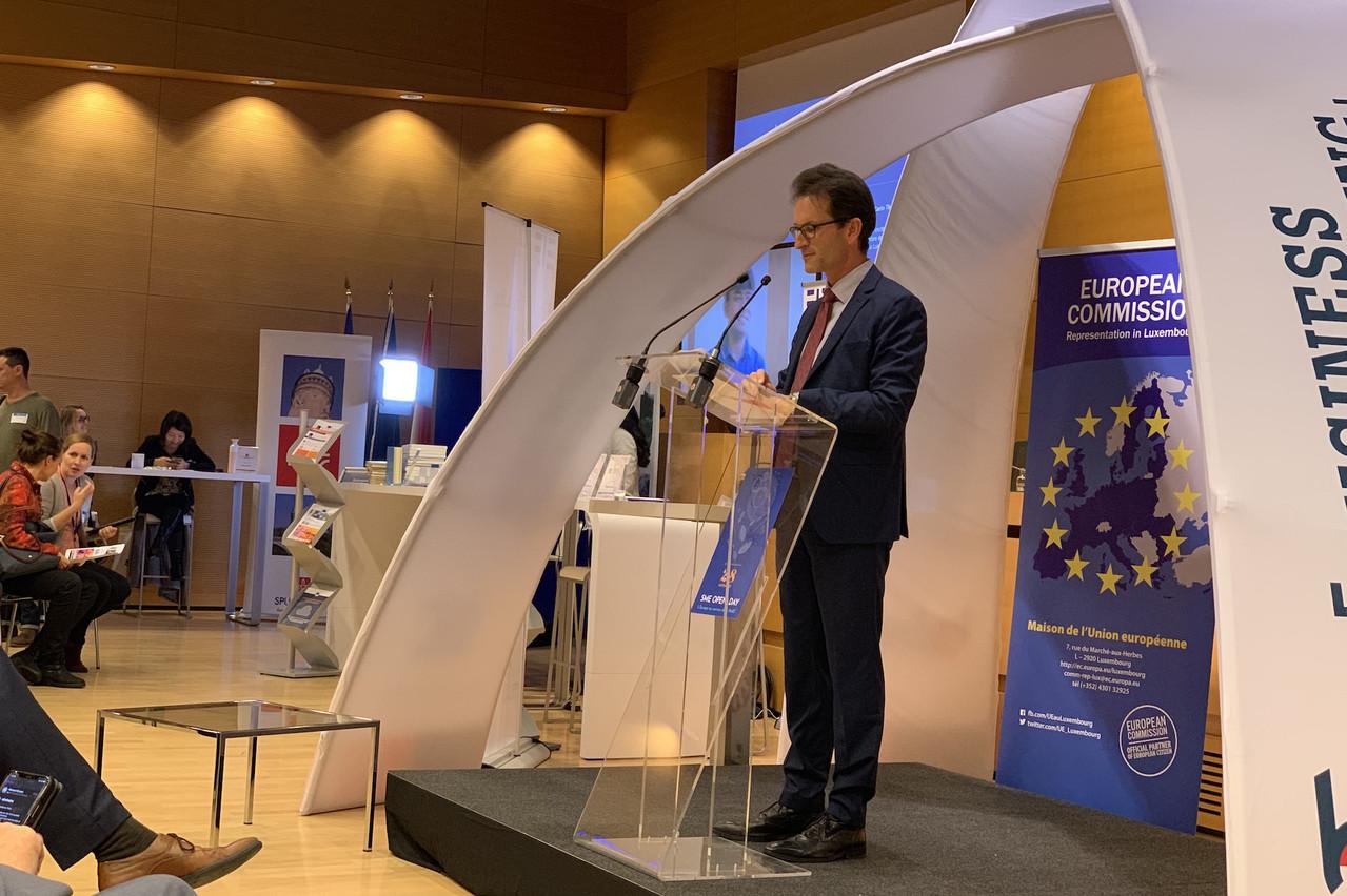 La journée dédiée à la PME était placée sous le signe de l'Europe et le discours de Carlo Thelen, CEO de la Chambre de commerce, a fait la part belle aux sujets supranationaux.  (Photo: Paperjam)