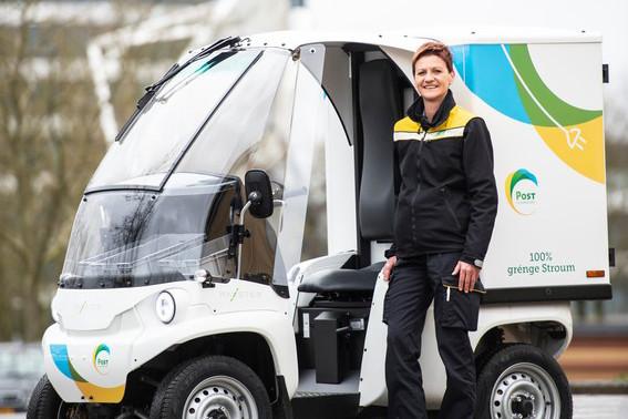 Post a opté pour les Paxter: des véhicules électriques qui permettent aux facteurs de faire leur tournée quotidienne sans émissions de carbone. (Photo: Post)
