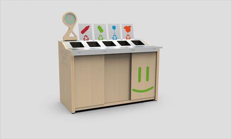 Quand la quantité de déchets est normale, la poubelle sourit. Elle se fâche si le poids du contenu de l'assiette versé à l'intérieur est trop élevé. (Photo: Smilebin)